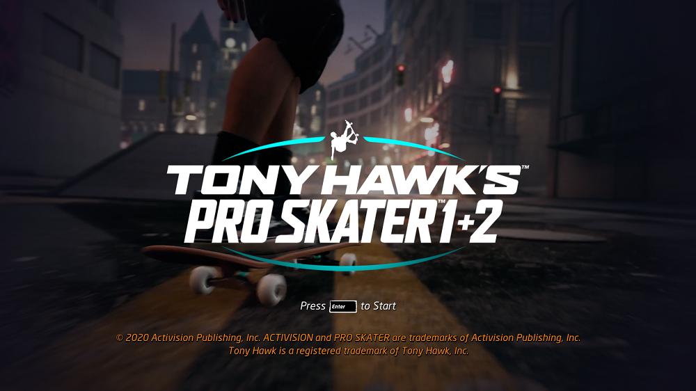 Tony Hawk Pro Skater 1+2 startscherm