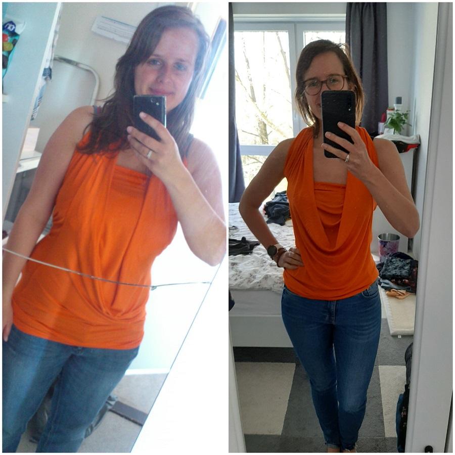 Marlies in 2013 en 2020 in dezelfde outfit