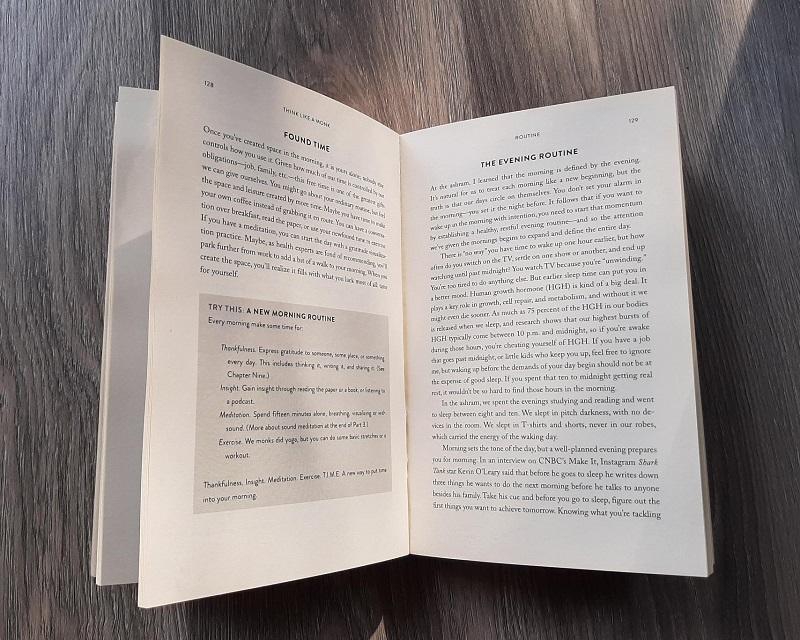 Binnenzijde boek Think like a monk